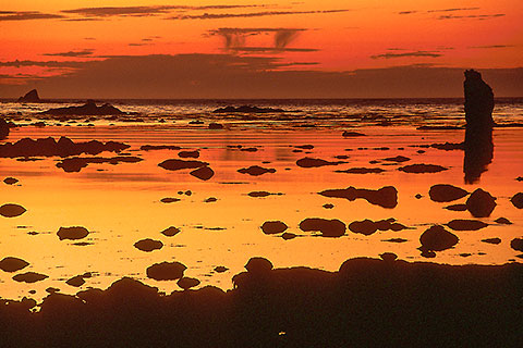 Low tide & rock silhouettes at sunset [©1992 paulgodard.com]