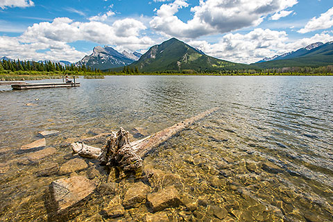 Lisa on ponton | pine tree log in water, lake & mountains [©2017 paulgodard.com]